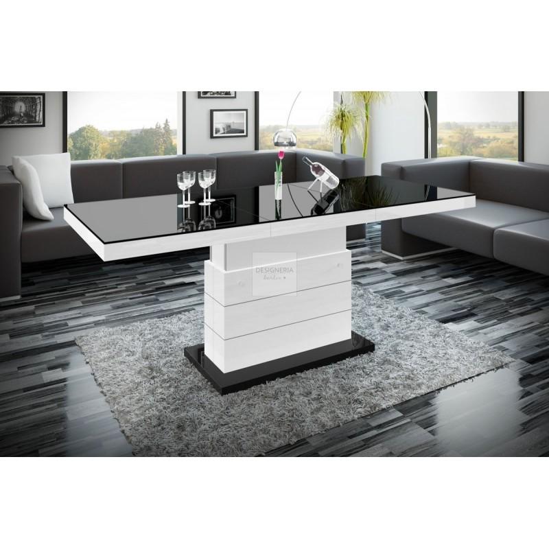 M lux2 couch esstisch ausziehbar bis 170cm for Design couchtisch bowl highgloss weiss 90cm
