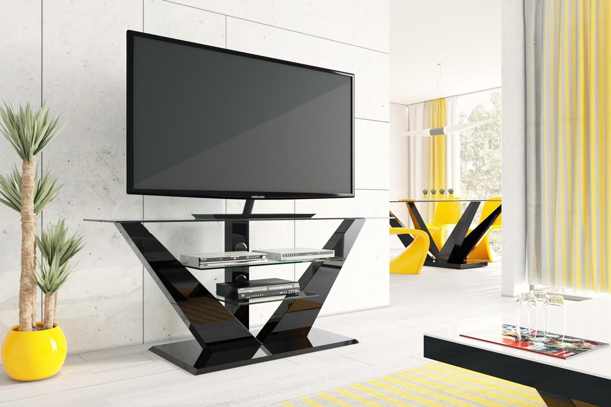 LUNA TV möbel black mit LED Beleuchtung