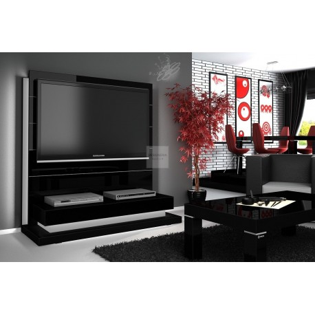 Panorama Lux Tv Mobel Black Mit Led Beleuchtung